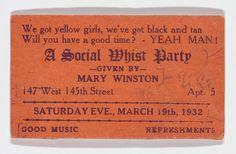 Langston Hughes's Collection of Rent Party Cards from Harlem