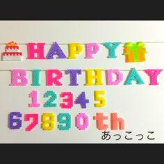 Happy Birthday garland perler beads by Akkokko