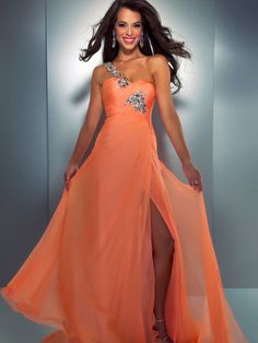A-line One Shoulder Chiffon Floor-length Orange Rhinestone Prom Dress