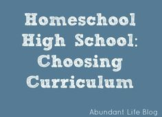 High School Homeschool Curriculum /check out the Teaching Textbooks Math Curr. Awesome!