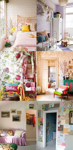white and bright colors boho interior