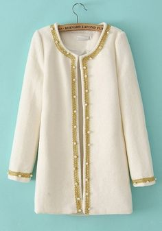 White Pearl Round Neck Wool Blend Trench Coat