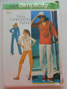 7524 Simplicity Size 8 Young Contemporary Fahsion Misses Pants in Two Lengths Pullover Tops and Bag C.1976 Viintage Uncut by 2xisnice on Etsy