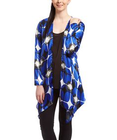 Love this Royal & Black Sidetail Open Cardigan on #zulily! #zulilyfinds