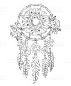 Black and white line art vector illustration was made in eps . - Indian dream catcher line art illustration. Royalty free Indian Dream Catcher Line Art Illustration - Dream Catcher Vector, Dream Catcher Drawing, Dream Catcher Mandala, Dream Catcher Tattoo, Dream Catcher Boho, Pattern Coloring Pages, Printable Adult Coloring Pages, Mandala Coloring Pages, Coloring Book Pages