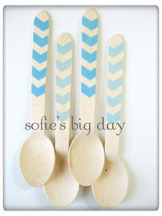 Hand Stamped Wooden Spoons- chevron striped spoons-blue striped utensils-wooden ice cream spoons-25 count on Etsy, $9.75
