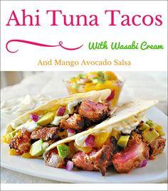 Sesame crusted seared ahi tuna 39 sushi 39 salad with wasabi for Tuna fish tacos