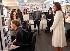 Enjoying the visit: The Duchess laughs with Ms Logan and Ms Turner during her visit to the...