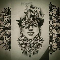 #butterfly #woman #mandala #mandalaflowertattoo #mandalatattoo #darkart #bw #tattoodesign