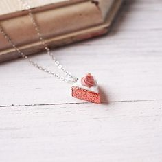 Handmade Cute Pink Cake Necklace Polymer Clay Miniature Food Jewelry