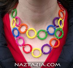 Crochet olympic rings necklace by Naztazia
