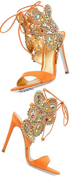 Rene Caovilla Multi-Crystal Crown Ankle Wrap Sandal in Orange ♔THD♔