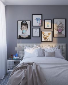 quarto cinza, parede de quadrinhos, quarto tumblr, quadros