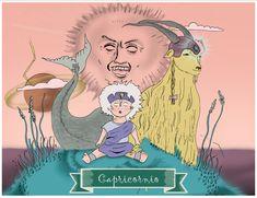 Capricornio, Dibujos, Ilustración, signos del Zodiaco