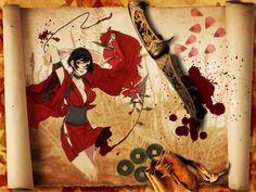 red ninjas blood Japanese kimono kurenai