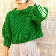 Discover thousands of images about Loopy Mango Little Monster's jacket in Marine Boy - only takes a few hours to… Cropped Pullover, Cropped Sweater, Knitwear Fashion, Knit Fashion, Fashion 2017, Fall Fashion, Crochet Motifs, Knit Crochet, Crochet Granny