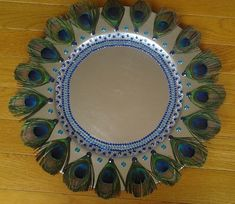 Decorative Tray with Peacock Feathers.