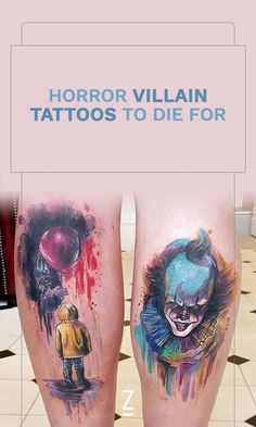 Check out these scary horror villain tattoos just in time for Halloween. Scary Tattoos, Top Tattoos, Great Tattoos, Body Art Tattoos, Girl Tattoos, Tattoo Girls, Wrist Tattoos For Guys, Tattoos For Women, Tattoo Aquarelle