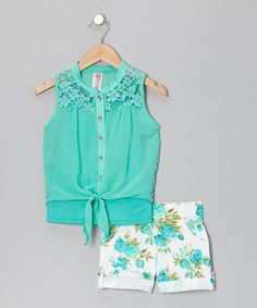Take a look at this Mint & White Primrose Shorts Set by Just Kids on #zulily today!