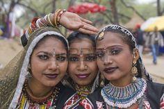 Haryana India February 7 2008 Indian women dancers from Rajasthan Stock Photo