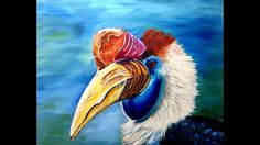 Oil painting of a Hornbill, an exotic bird of Asia. Using Winsor Newton Alkyd Oils and Rosemary and Co brushes. Dagger brushes are especially helpful in pain. Painting Videos, Bird Art, Brushes, Art Ideas, Exotic, Pastel, Birds, Oil, Watercolor