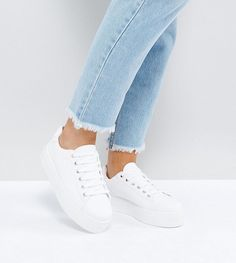ASOS DAY LIGHT Wide Fit Lace Up Sneakers - White