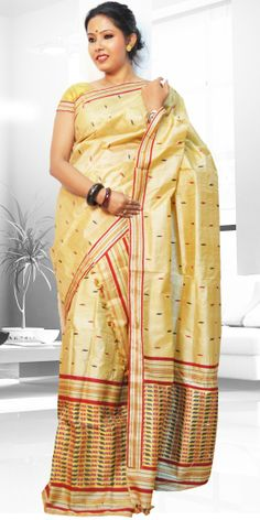 Beautiful Golden colour Assam silk Tassar Mekhla Chadar with artistic Suta work of Kesh design giving a stylish look to the two piece. This gorgeous collection is perfect for any festive occasion.The Mekhla Chadar is a two pc. Saree which comes with matching blouse piece, the blouse shown in the image is just for display purpose.Slight colour variation may be there in display & acutal.