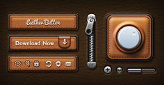 Leather UI kit PSD