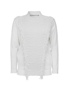 Tiger Of Sweden: Gwynni pullover - Women's white knitted pullover in cotton. Features contrast yarn and fringing at front and back. Ribbed trim at neck, cuff and bottom hem.