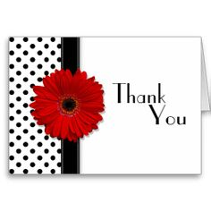 Red Gerber Black White Polka Dot Wedding Thank You Cards by wasootch Making Greeting Cards, Greeting Cards Handmade, Handmade Thank You Cards, Cool Cards, Diy Cards, Polka Dot Wedding, Red Wedding, Wedding Reception, Wedding Venues