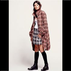 """Free People Plaid Bell Sleeve Midi Jacket Plaid bell sleeve midi jacket. Oversized and slouchy, light weight,  with flap pockets, puff sleeves and gathered wrists. Tortoise shell buttons. Retail $228. Approx measurements: shoulder to shoulder 17"""" / armpit to armpit 20.5"""" / shoulder to bottom hem  39-40"""". I am 5'6"""" and it hits right at my knee caps. Also, I am usually a sz M across the board in FP and this sz S fits me with plenty of room to spare. Free People Jackets & Coats"""