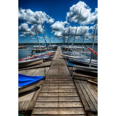 Docked Boats Print Black Mat Water Lake by BrandonSpannbauer