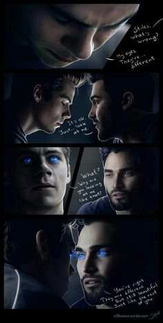 Stiles becomes a werewolf and his eyes… well after all that stuff with nogitsune they're not like he expected them to be. Lucky for him Derek knows exactly what to say to make him feel . Derek Teen Wolf, Stiles Derek, Teen Wolf Boys, Teen Wolf Dylan, Void Stiles, Teen Wolf Memes, Teen Wolf Quotes, Teen Wolf Funny, Teen Wolf Fan Art