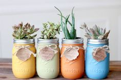 Succulent mason jar set of four , gift, wedding gift, birthday gift, house… Birthday Party Centerpieces, Spring Projects, Painted Mason Jars, Etsy Crafts, Mason Jar Crafts, Flower Vases, Flowers, Mother Day Gifts, Wedding Gifts