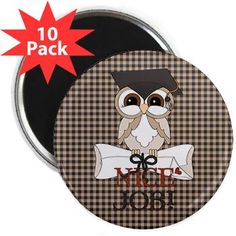 Graduate Owl 2.25 Magnet (10 pack) Magnets, Decorative Plates, Graduation, Owl, Kids Rugs, Packing, Home Decor, Bag Packaging, Kid Friendly Rugs