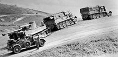 Towing faulty German tank Pz. Kpfw. VI Tiger in 1943 near Kurskaya Duga