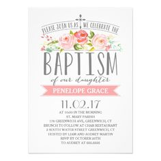 Rose Banner | Girl Baptism Invitation