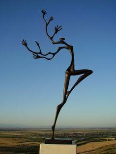 Bronze Abstract Contemporary or Modern Outdoor Outside Exterior Garden / Yard Sculptures Statues statuary sculpture by artist Plamen Dimitrov titled: 'Forest fairy (figurative bronze Dancer Contemporary statue statuette)'