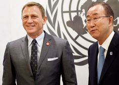 Daniel Craig —who was just named the UN Global Advocate for the Elimination of Mines and Explosive Hazards — met with United Nations Secretary - General Ban Ki-moon at the UN in NYC on April 14