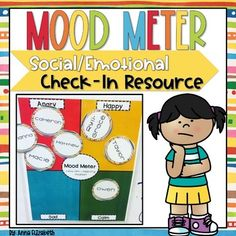 "Are you looking for a fun way for your students to do social/emotional check-ins at the beginning of the day? Check out this low prep Mood Meter! It comes with 4 quadrants that say, ""Happy, Sad, Angry Morning Meetings, Study Board, Teaching Grammar, Social Emotional Learning, School Counselor, Early Childhood, Social Studies, Back To School, Routine"