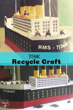 Titanic Recycle Craft, use recyclables to make a ship when learning about it! Easy Art Projects, Craft Projects For Kids, Easy Crafts For Kids, Art For Kids, Activities For Kids, History Activities, Titanic Art, Titanic Model, Foam Crafts