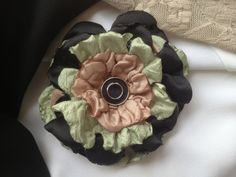 Black/Pale Green/Tan Fabric Floral with by ChristyHairCreations