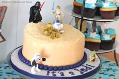 This Star Wars cake is for a baby shower, but it would be so cute for a kid's birthday party too!!