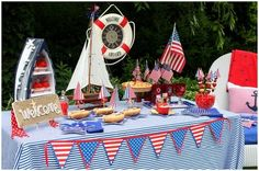 Nautical party - love the banner craft idea