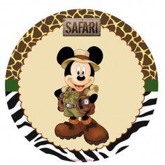 Mickey e Minnie Safari - Kit digital gratuito - Inspire sua Festa ® Mickey Mouse Clubhouse, Mickey Mouse Classroom, Safari Party, Safari Theme, Minnie Safari, Safari Invitations, Disney Printables, Party Printables, Disney Scrapbook Pages