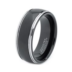 Mens Tungsten Carbide Wedding Band Ring 8mm 5-15 Half Sizes Black Enameled High Polished Stepped Edge Comfort Fit Custom Engraved