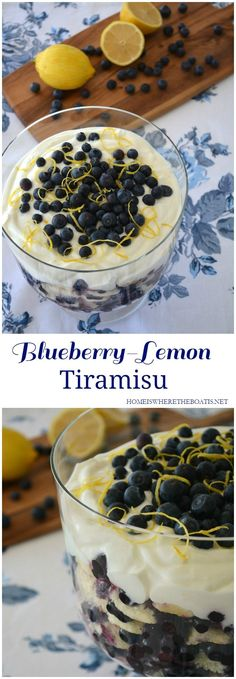 Blueberry-Lemon Tiramisu, a lightened up version of tiramisu for summer! Nonfat Greek yogurt takes the place of the traditional ingredients of heavy cream, egg yolks, and mascarpone cheese, resulting in a healthier, light and summery dessert.   homeiswheretehboatis.net   #healthy #dessert