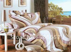 Пуховое одеяло качество ткани щеткой волнистые конфигурации полосатый современный печатным рисунком 4 шт. королева постельное белье с листов