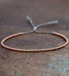 Delicate 14k solid Rose Gold beaded bracelet
