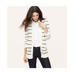 LOFT Petite Striped Sheer Open Cardigan ($45) ❤ liked on Polyvore